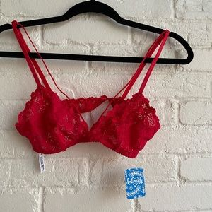 NWT Free People Intimately Red Lace Bralette New